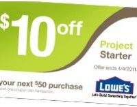 $10 off $50 Purchase at Lowe's…