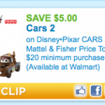 $5.00 off CARS 2 Mattel & Fisher Price Toys Printable Coupon