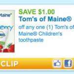 $1/1 Tom's of Maine Children's Toothpaste Printable Coupon