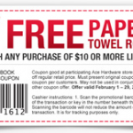 Free paper towel roll with purchase at Ace Hardware