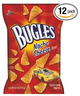 Bugles Crispy Corn Snacks Nacho Cheese 4.1-Ounce Packages (Pack of 12) for $12.36 Shipped