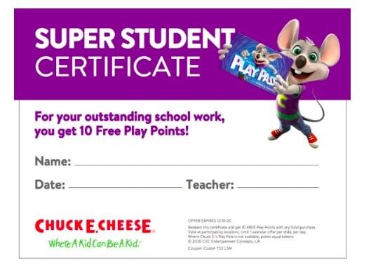 Chuck E Cheese Rewards
