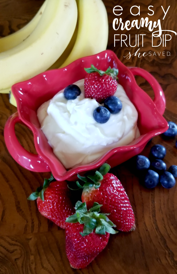This EASY Creamy Fruit Dip is SO yummy and takes only minutes and a few ingredients to make!