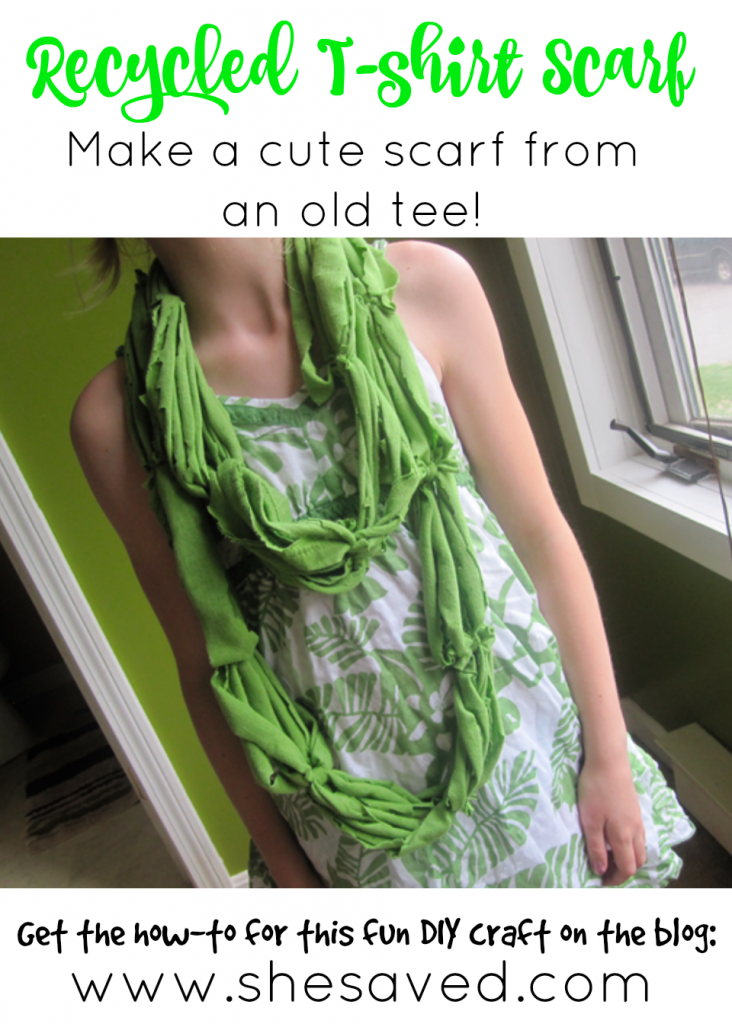 This recycled t-shirt craft is a fun way to repurpose an old tee for a fun DIY fashion project!