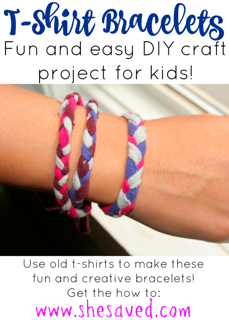These darling t-shirt bracelets are a fun way to up-cycle old shirts and make fun jewelry in the process!