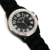 Black Silver Silicone Gel Ceramic Style Band Crystal Bezel Watch for $6.99 Shipped