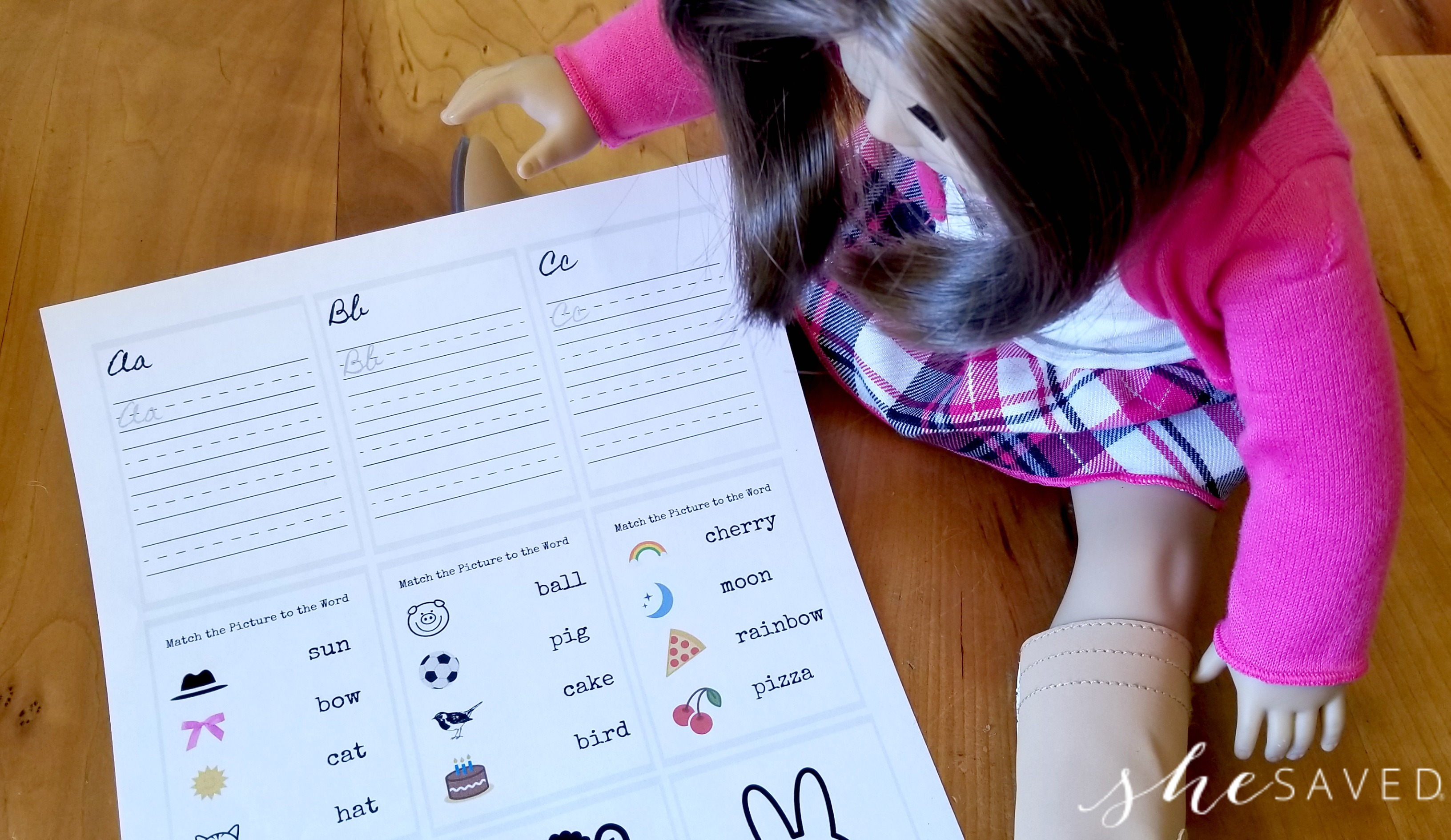 FREE Printable Doll Sized School Worksheets - SheSaved®