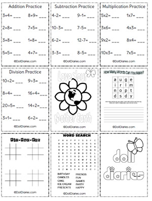 your little girl is sure to love these free printable doll sized school - School Worksheet Printables