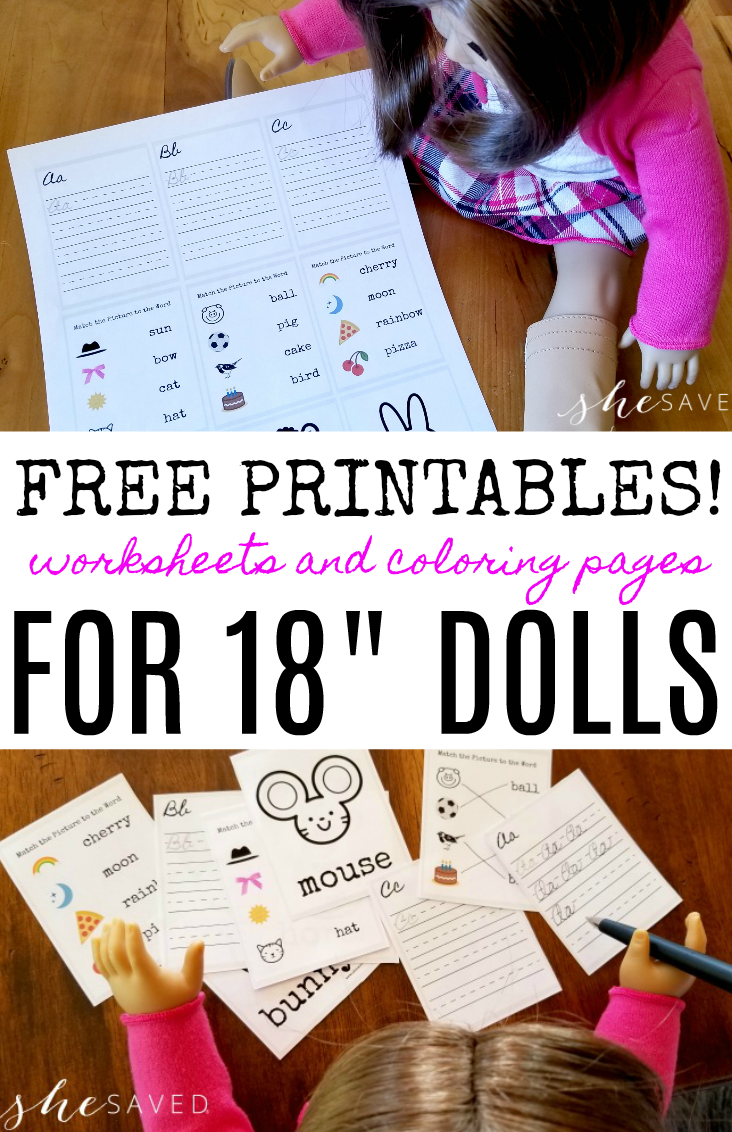 "Fun for American Girl Dolls and/or 18"" Dolls are these FREE printables for dolls including worksheets, coloring pages and more!"