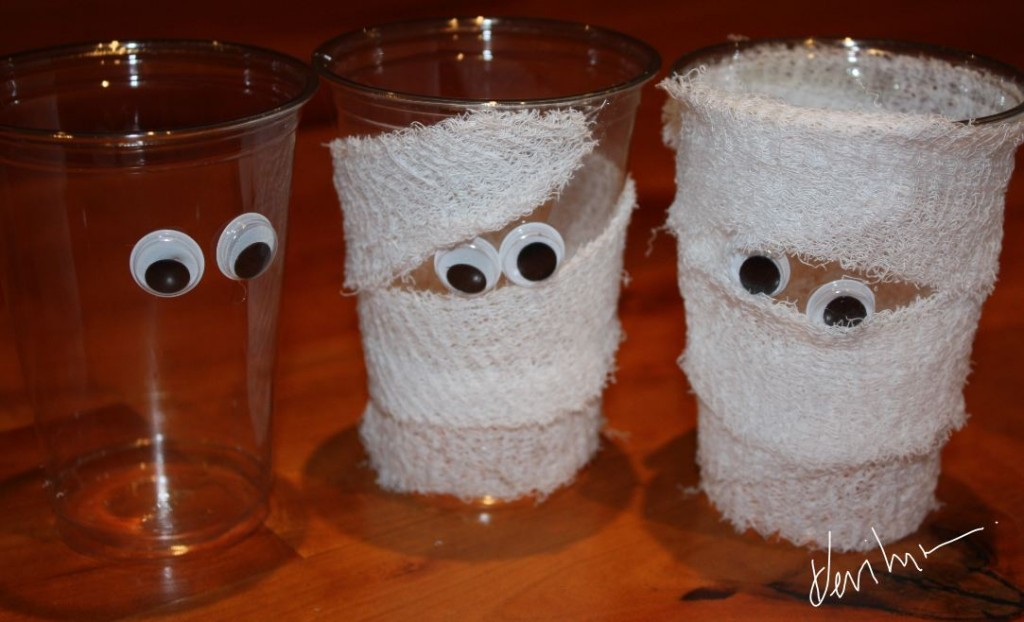Halloween arts crafts mummy cup pencil and or treat for Plexiglass arts and crafts