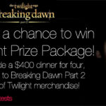 Breaking Dawn Giveaway: Win Dinner and a movie + Twilight merchandise