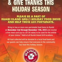 Rumbi Island Grill Give Thanks Food Drive | Get a FREE Meal with Food Donation