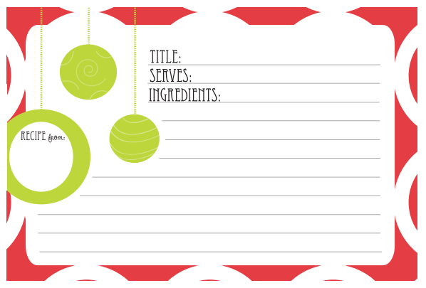 free printable christmas recipe card