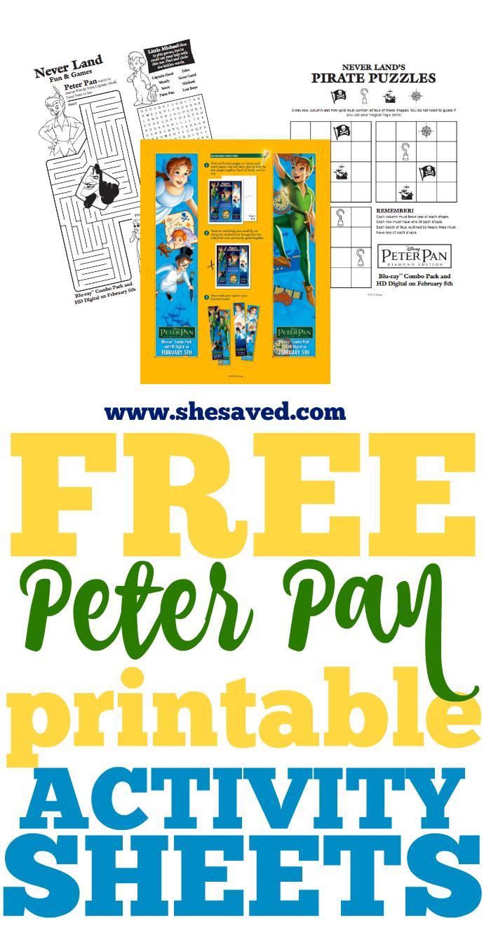 FREE Printable Peter Pan Activity Sheets