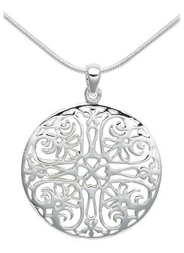 Sterling silver filigree circle pendant for 38 shipped shesaved sterling silver filigree circle pendant aloadofball Image collections