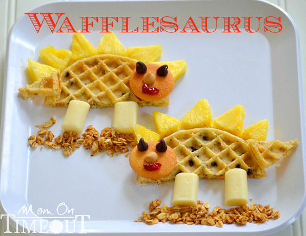 Kids food craft wafflesaurus snack shesaved for Fun kid food crafts