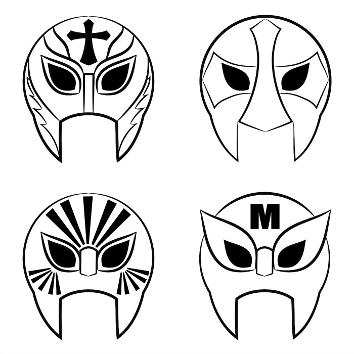 black and white Mexican wrestling masks