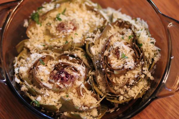 Parmesan Stuffed Roasted Artichokes