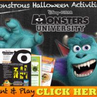 FREE Disney Monsters U Monstrous Halloween Activity Sheets