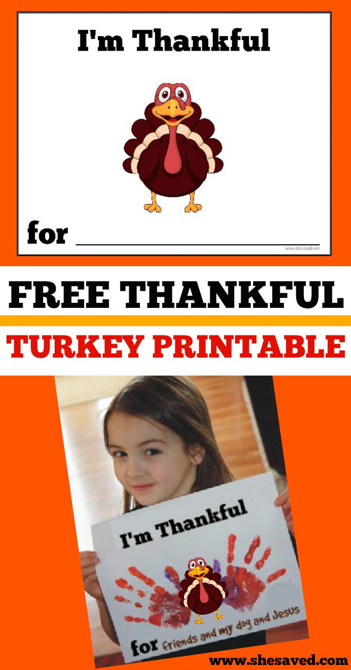 Free Thankful Turkey Printable