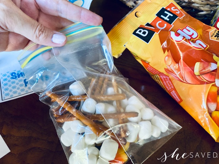 Making Treat Bags for Snowman Parts