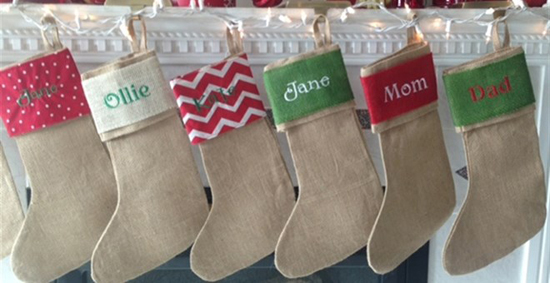Personalized Burlap Christmas Stockings For $14.99 - SheSaved®