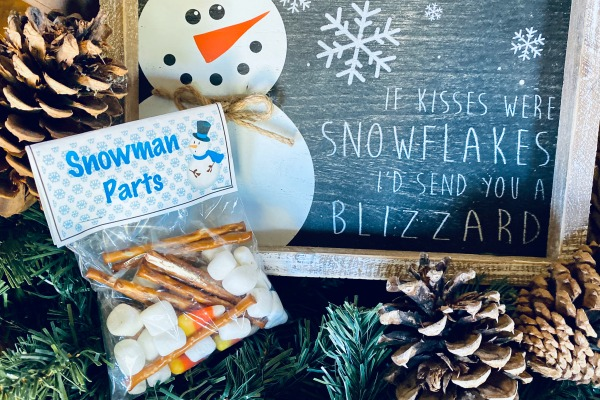 Snowman Parts Craft Treat Bag + FREE Printable