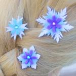 DIY Elsa's Snowflake Hair Barrettes