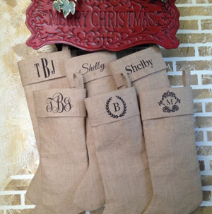 Personalized Burlap Christmas Stockings For $18 - SheSaved®