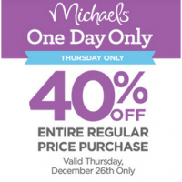 Michaels Coupon: 40% off your ENTIRE purchase! @michaelsstores