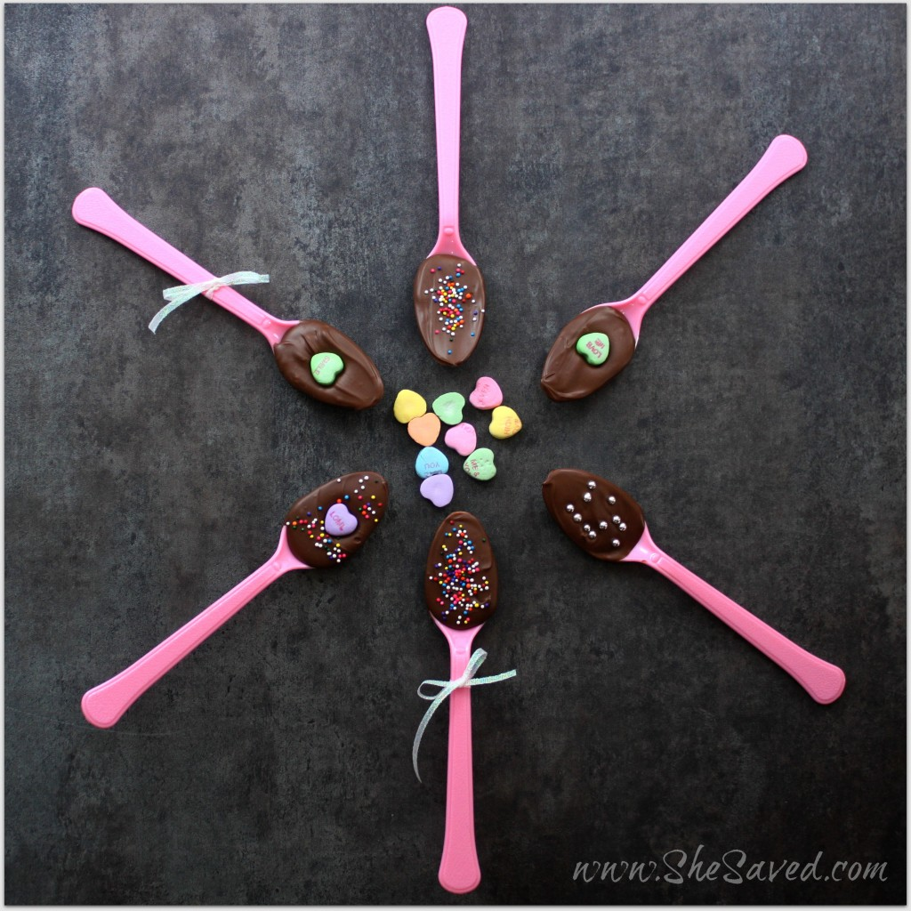 Valentine's Day Chocolate Covered Spoons