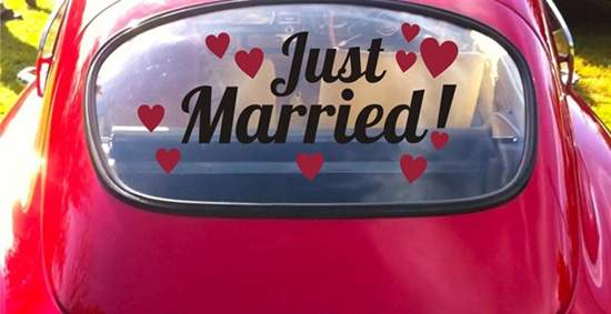 Just Married Vinyl Decals