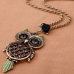 Vintage Rhinestone Owl Pendant For $3.99 + FREE Shipping