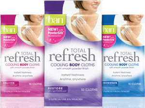 Free Ban Total Refresh Cooling Body Cloths Sample