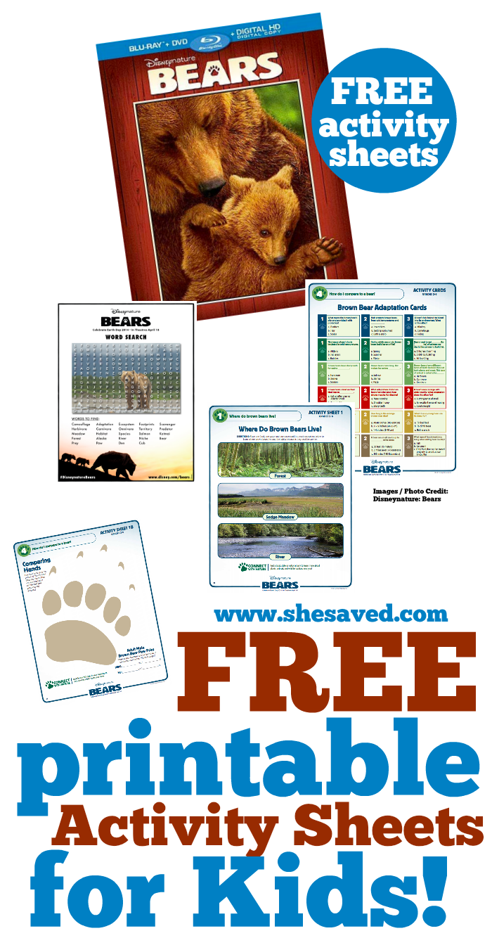 Disneynature Bears FREE Printable and Activity Sheets