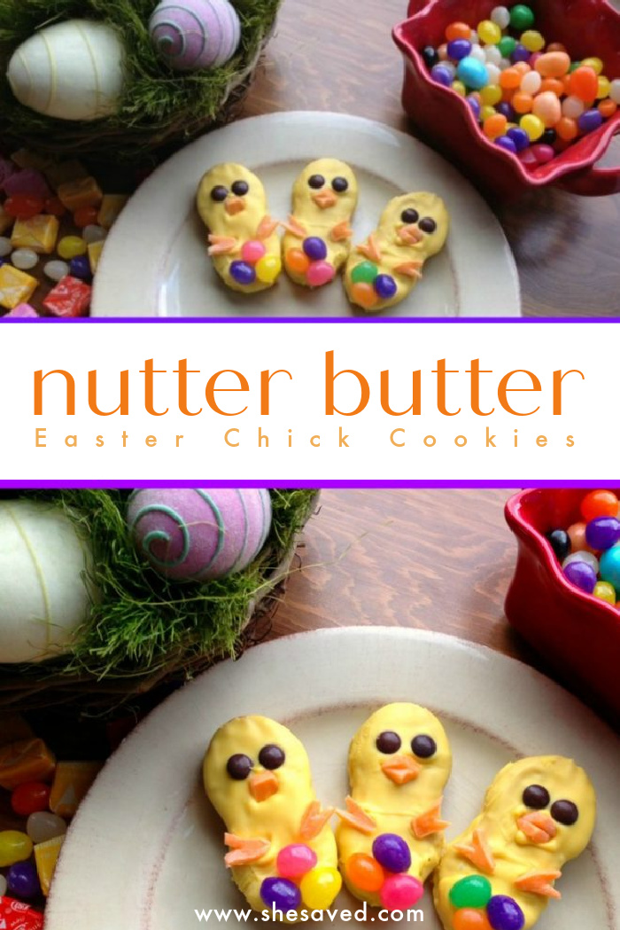 Easter Chick Cookies made with Nutter Butter Cookies made with Nutter Butter