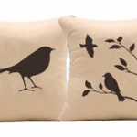 Handprinted Bird Pillow Covers