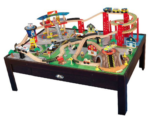 Kidkraft airport express train table for shesaved for 100 piece mountain train set and wooden activity table
