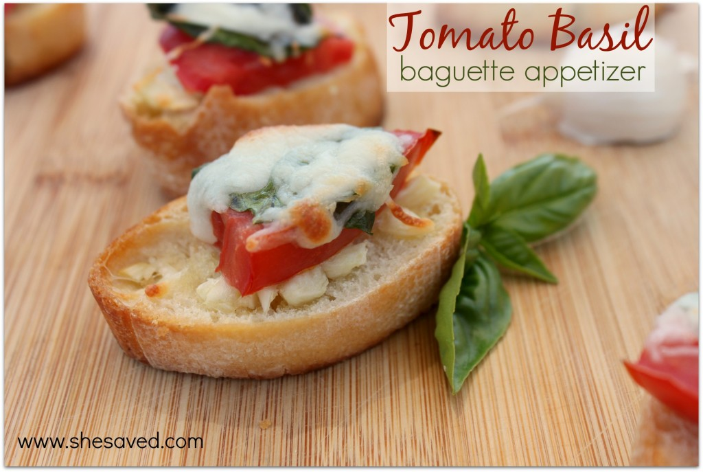 Make this easy Tomato Basil Baguette Appetizer for a lovely and delicious appetizer for your next party!