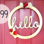 Hello Wood Door Wreath