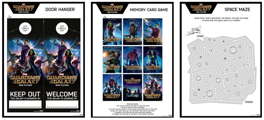 Free Guardians of the Galaxy Activity Pages