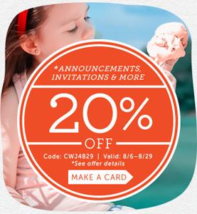 Cardstore.com 20% Off Announcements, Invites & More