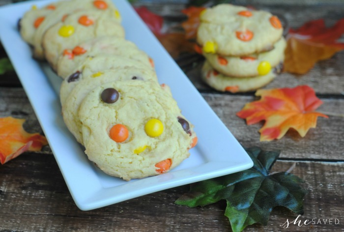 Fall Cake Mix Cookies made with Reese's PIeces