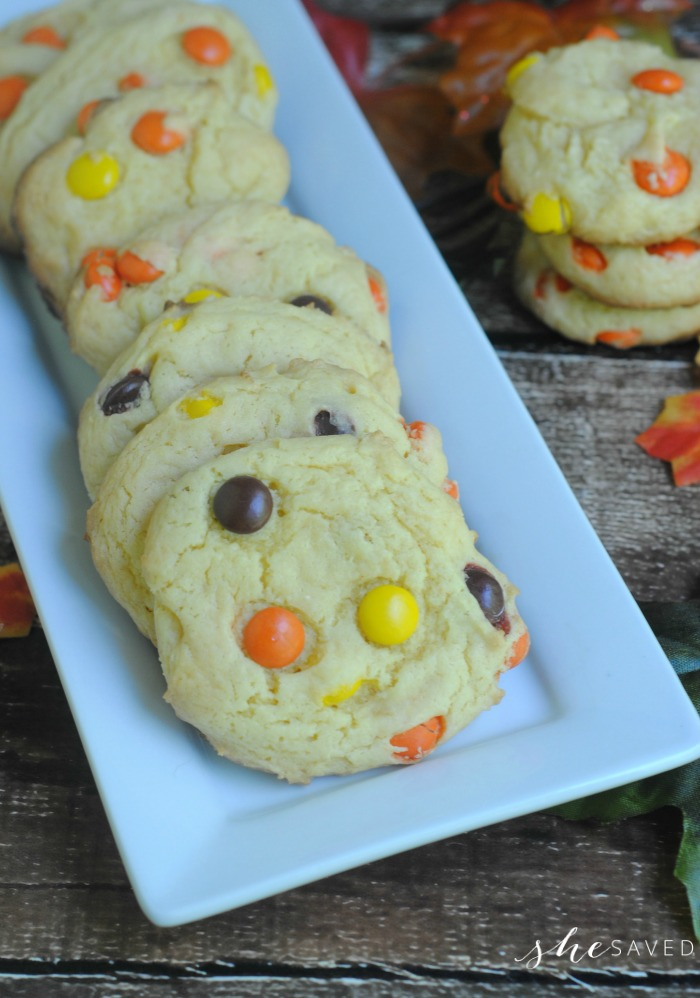 Fall Cookie Recipe made with Cake Mix from a box and Reese's Pieces