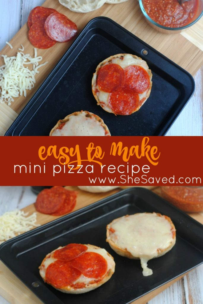 This easy mini pizza recipe is fool proof and a great recipe for kids to make because not only will they love it, it really is EASY and uses just a few ingredients! ~From SheSaved.com