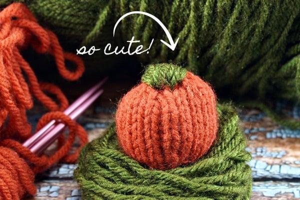 mini knitted pumpkin tutorial