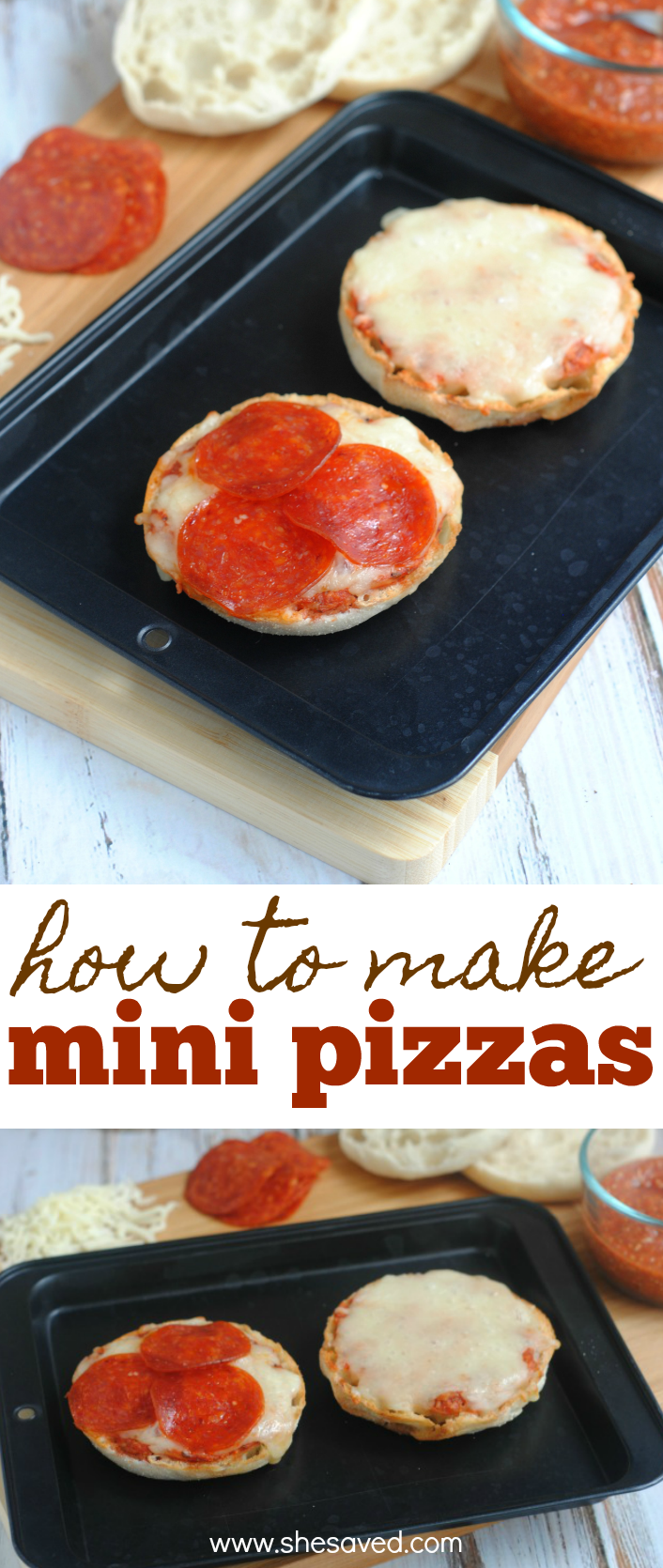 Easy mini pizza recipe made from english muffins