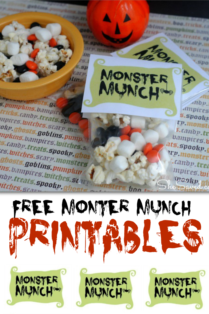This FREE Monster Munch Printable will be a hit at your halloween bash!