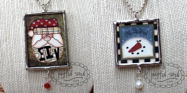 Santa and Snowman Necklaces