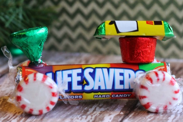 Christmas Candy Trains made out of lifesavers